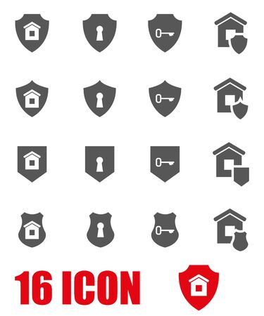 security icon: grey home security icon set on white background Illustration