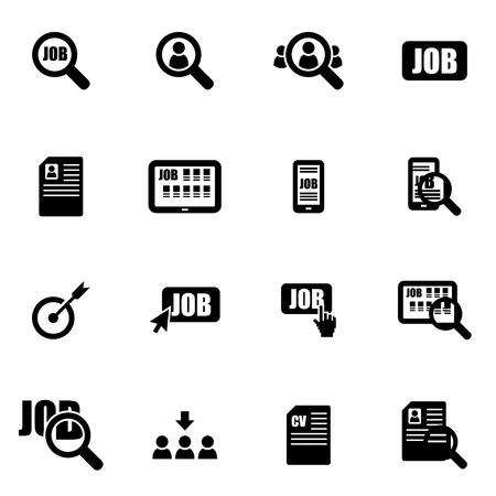 puesto de trabajo: icono de búsqueda de empleo negro situado en el fondo blanco Vectores