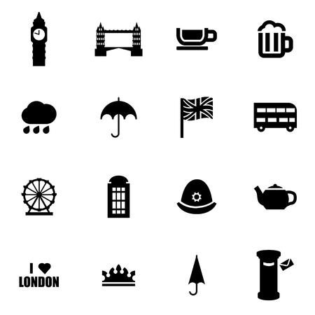 british english: black london icon set on white background