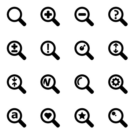 magnified: black magnifying glass icon set on white background