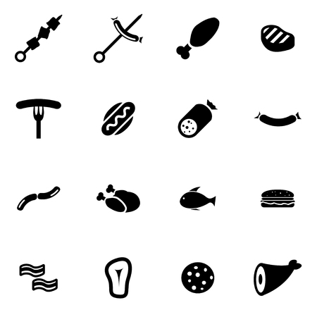 beef meat: black meat icon set on white background