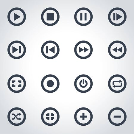 media buttons: black media buttons icon set on grey background Illustration