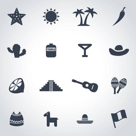 black mexico icon set on grey background