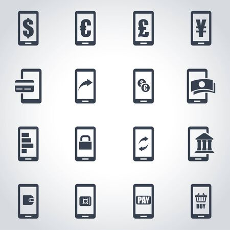 mobile banking: black mobile banking icon set on grey background