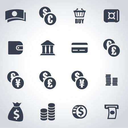 cash icon: black money icon set on grey background Illustration