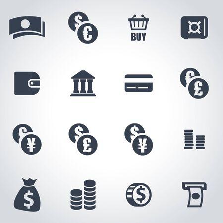 efectivo: icono negro del dinero fijado en el fondo gris