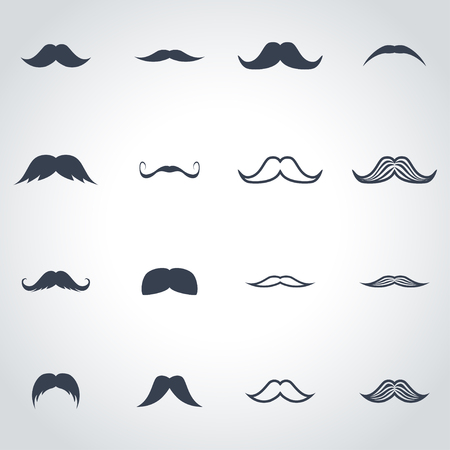 moustaches: black moustaches icon set on grey background