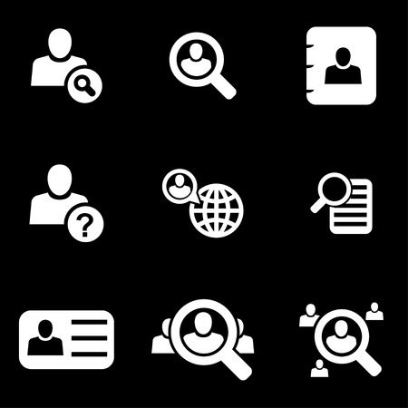 search icon: white people search icon set  on black background
