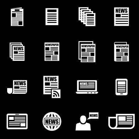 newspaper articles: white newspaper icon set on black background