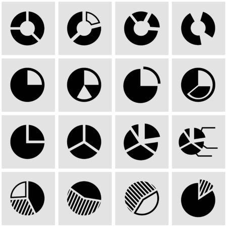 pie: black pie chart icon set on grey background