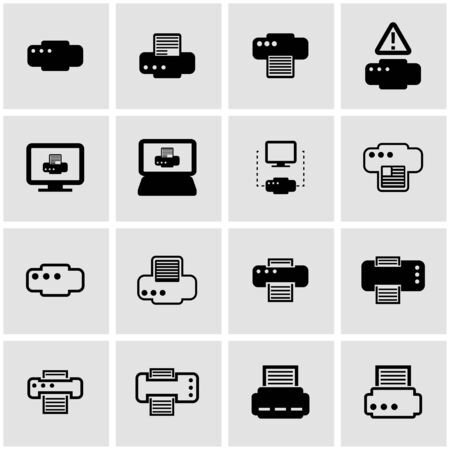 inkjet: black printer icon set on grey background