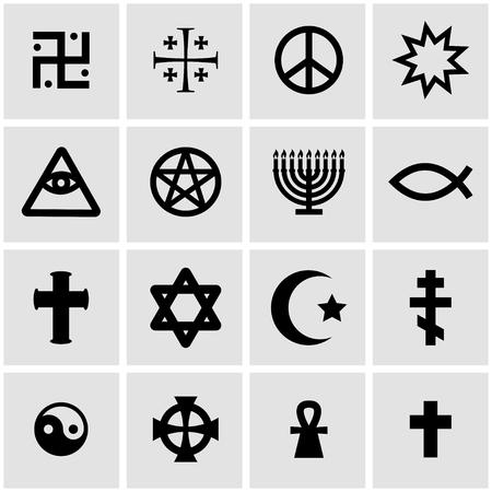 cruz religiosa: símbolos religiosos conjunto negro sobre fondo gris