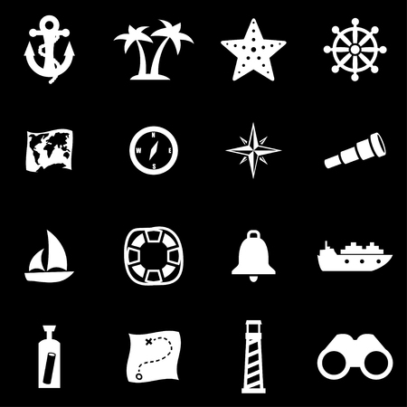 nautical: white nautical icon set on black background