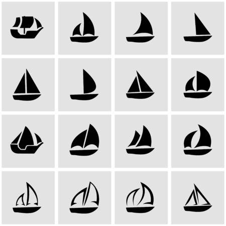 sailboat: black sailboat icon set on grey background Illustration