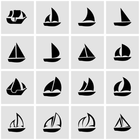 black sailboat icon set on grey background Illustration