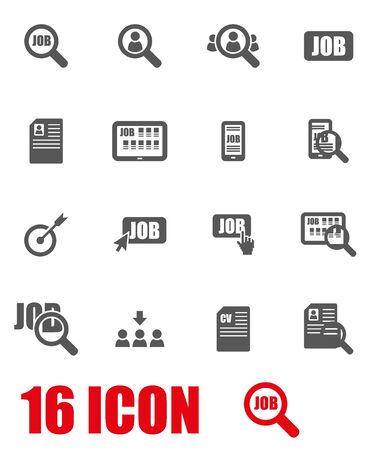 jobs: Vector grey job search icon set on white background