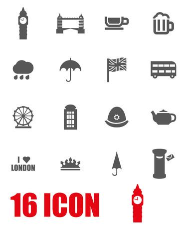 british english: Vector grey london icon set on white background