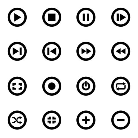 navigation buttons: Vector black media buttons icon set on white background