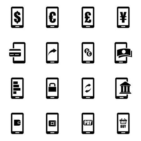 web banking: Vector black mobile banking icon set on white background Illustration