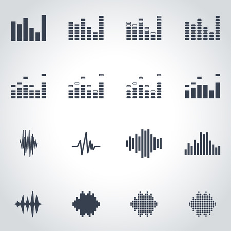 soundwave: Vector black music soundwave icon set on grey background Vectores