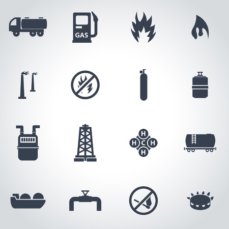 gas icon: Vector black natural gas icon set on grey background