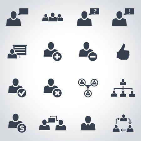 Vector zwarte kantoor mensen icon set op een grijze achtergrond Vector Illustratie