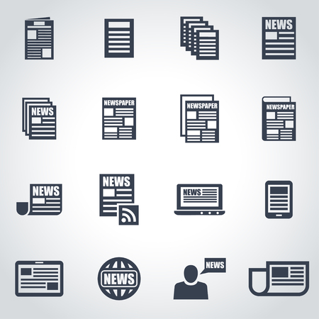 newspaper headline: Vector black newspaper icon set on grey background