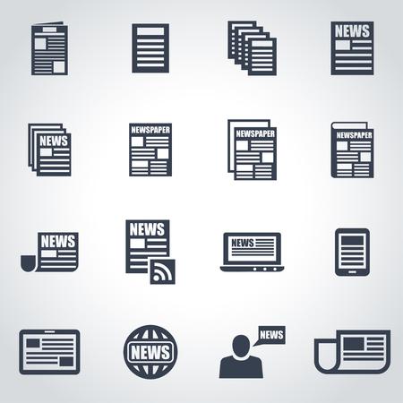 periodicos: Vector icono de periódico negro establece sobre fondo gris