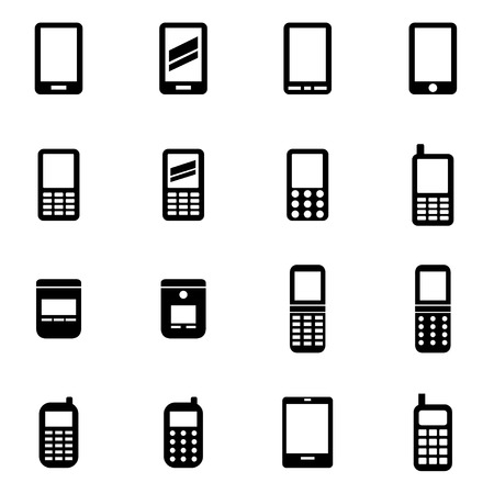 Vector black mobile phone icon set on white background Иллюстрация