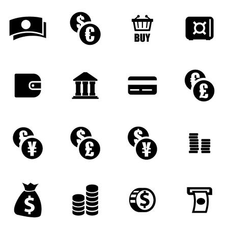 banco dinero: Vector icono negro del dinero fijado en el fondo blanco
