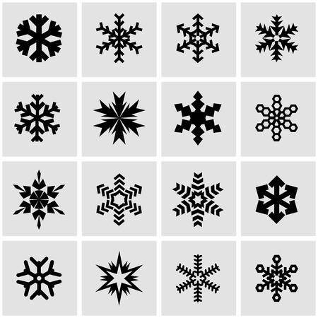 snowflake icon: Vector black snowflake icon set on grey background Illustration