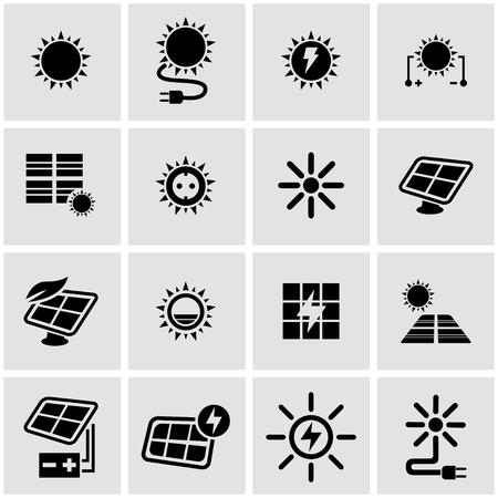 sun oil: Vector black solar energy icon set on grey background