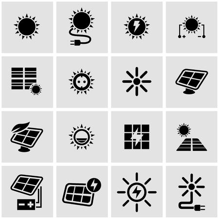 energy icon: Vector black solar energy icon set on grey background