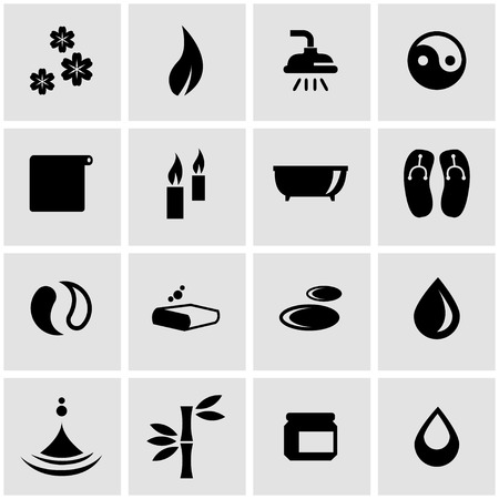 spa relax: Vector black spa icon set on grey background Illustration