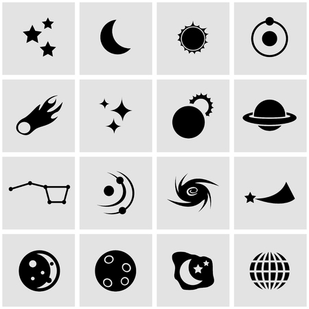 space: Vector black space icon set on grey background