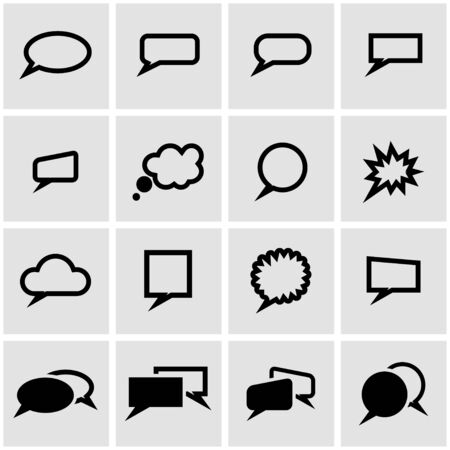 bubbles: Vector black speach bubbles icon set on grey background