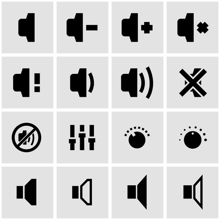 speaker: Vector black speaker icon set on grey background Illustration