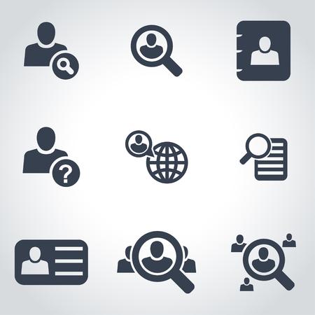 Vector zwarte mensen zoeken icon set op een grijze achtergrond