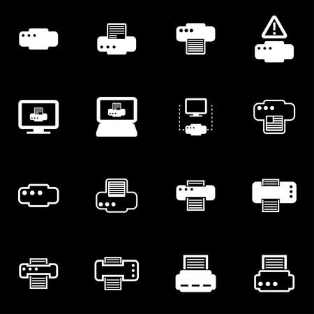impresora: Vector icono de impresora en blanco fijado en el fondo negro