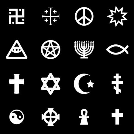 cruz religiosa: Símbolos religiosos blancos del vector fijadas en el fondo negro Vectores