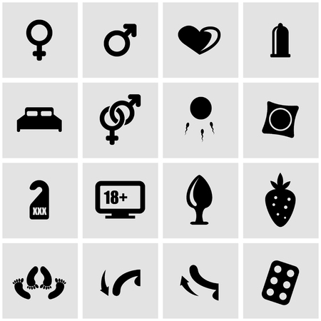 man and woman sex: Vector black sex icon set on grey background