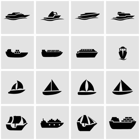 Vector zwarte schip en boot icon set op een grijze achtergrond Stock Illustratie