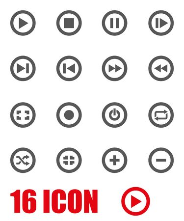 media buttons: Vector grey media buttons icon set on white background Illustration