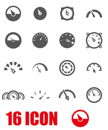 tester: Vector grey meter icon set on white background