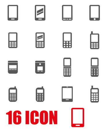 Vector grey mobile phone icon set on white background Illustration