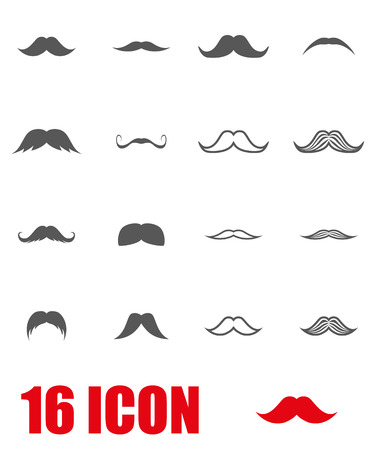 Vector grey moustaches icon set on white background