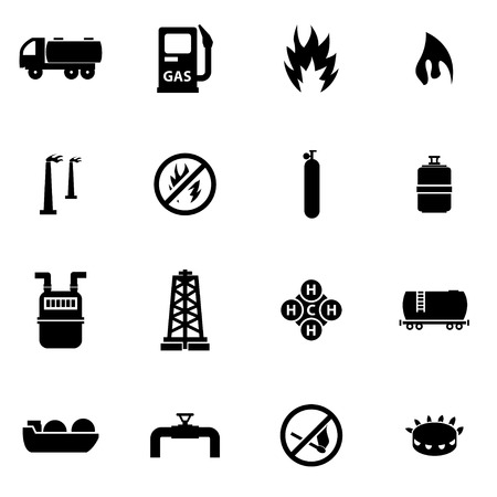 oil industry: Vector black natural gas icon set on white background
