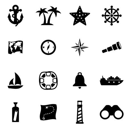 nautical: Vector black nautical icon set on white background