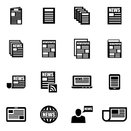 newspaper headline: Vector black newspaper icon set on white background Illustration