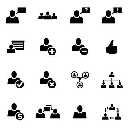 obra social: Vector negro gente de la oficina conjunto de iconos en el fondo blanco